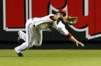 Arizona Diamondbacks center fielder Parra makes the diving catch against the New York Mets during their National League MLB baseball game in Phoenix